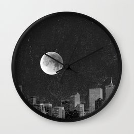 Blood Moon Over Denver Colorado in Black and White Wall Clock