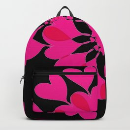 Connected Hearts In Pink and Red With Black Background Backpack