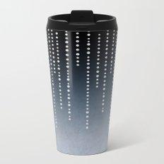 Rhinestone Faux Glitter Line On Dark Blue Metal Travel Mug
