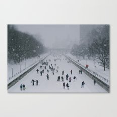 Skaters on the canal Canvas Print