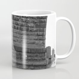 Stone Arch Bridge and Minneapolis Skyline Black and White Coffee Mug
