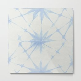 Shibori Starburst Sky Blue on Lunar Gray Metal Print