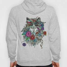 Floral Wolf. Hoody