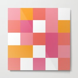Geometric Tile Pattern in Coral, Pink and Yellow Metal Print