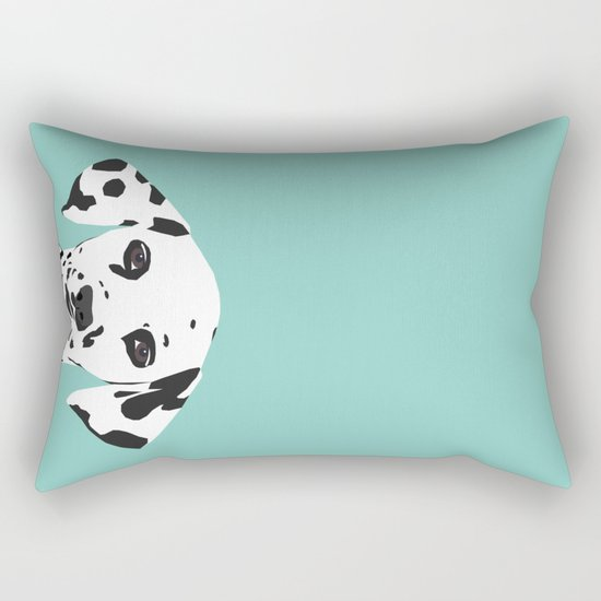 Dalmatian cute puppy dog black and white mint pastel gender neutral pet owner gifts love animals Rectangular Pillow