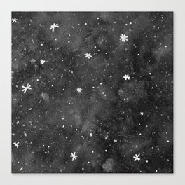 Watercolor galaxy - black and white Canvas Print