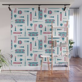 Cosmetic Items Repeating Pattern Wall Mural