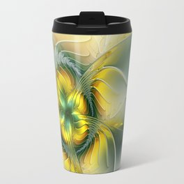 Golden Fantasy Flower, Fractal Art Travel Mug