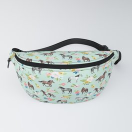 Horse and Flower Print, Mint Blue, Pink flowers, Equestrian, Spring Floral Fanny Pack