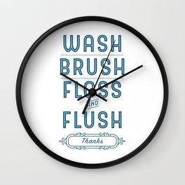 Blue Wash, Brush, Floss & Flush Bathroom Decor Wall Clock