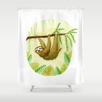 sloth Shower Curtains featuring Sloth by Kirsten Sevig