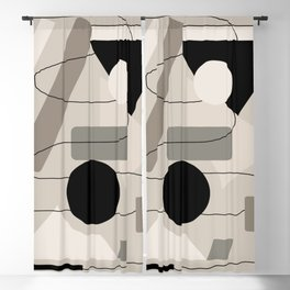 Beige and Black Circles, Squares Abstract Minimalist Design    Saletta Home Decor Blackout Curtain