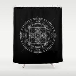 White geometric mandala circle Shower Curtain