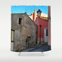 godfather Shower Curtains featuring Sicilian Medieval Village (The Godfather/ Francis Ford Coppola/1971) by CAPTAINSILVA