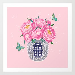 peony bouquet in ginger jar/pink Art Print