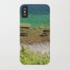 Stone shore on the lake in Canada iPhone X Slim Case