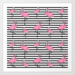 Flamingo Pattern Striped Background Art Print