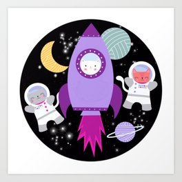 Purple Pink Cat Astronaut Outer Space Pattern Art Print