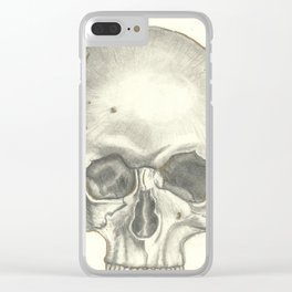 Vintage Skull - Black and White Drawing Clear iPhone Case