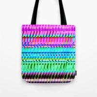 glitch Tote Bags featuring glitch by Valeria Prada