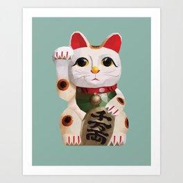 Maneki Neko (Fortune Cat) Polygon Art Art Print