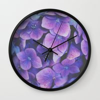 hydrangea Wall Clocks featuring Hydrangea by Christine Hall