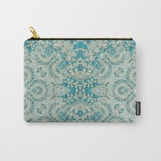 floral lace on blue Carry-All Pouch