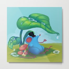 Mr. Bluemouse in the Rain Metal Print