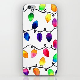 Colorful Christmas Holiday Light Bulbs iPhone Skin