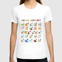 Cute cartoon zoo illustrated alphabet with funny animals. English alphabet. T-shirt