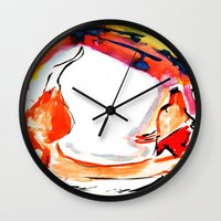 kitsune Wall Clocks featuring Kitsune by Karina Geddes Illustration