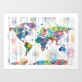 world map mandala white Art Print