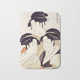 Three Beauties of the Present Day Geisha Print Bath Mat