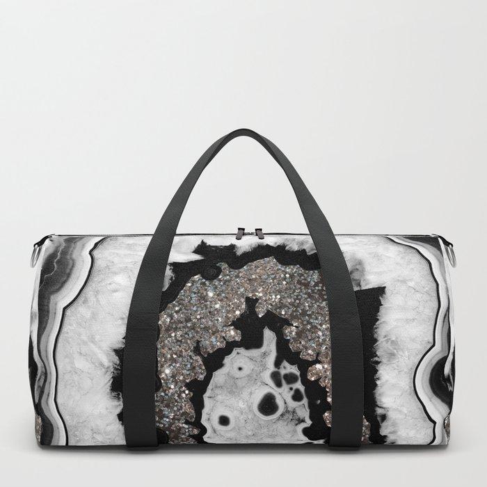 Gray Black White Agate with Silver Glitter #1 #gem #decor #art #society6 Duffle Bag