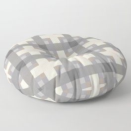 NEUTRALITY light taupe and eggshell squares pattern Floor Pillow