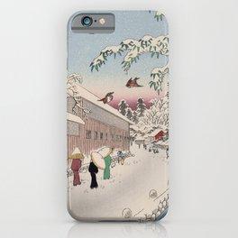 Atagoshita Yabu Lane Snow Scene Vintage Ukiyo-e Japanese Art iPhone Case