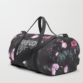 Fake Love Pink Floral Duffle Bag
