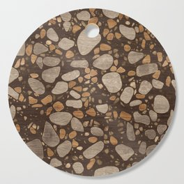 Terrazzo - Mosaic - Wooden texture and gold #3 Cutting Board