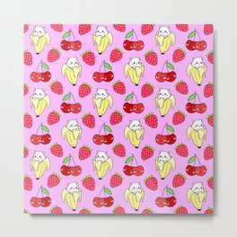 Cute funny sweet adorable happy little baby kittens in bananas, little cherries and red ripe summer strawberries cartoon fantasy pastel pink pattern design Metal Print