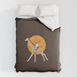 Giraffe and Monkey | Color Illustration | Brown Comforters