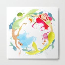 Mermaid Circle Metal Print