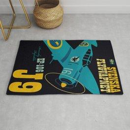 Swedish EP-106 airplane poster ShreddyStudio Dennis Weber Rug