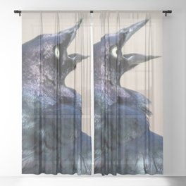 Watercolor Bird Grackle 01, The Iridescent Impersonator Sheer Curtain