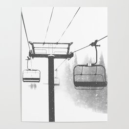 Chairlift Abyss // Black and White Chair Lift Ride to the Top Colorado Mountain Artwork Poster