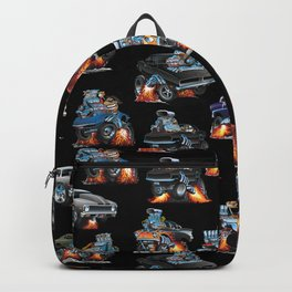 Car Crazy Classic Hot Rod Muscle Cars Cartoons Seamless Pattern Backpack