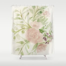 Blush Roses Watercolor No. 2 Shower Curtain