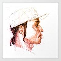 asap rocky Art Prints featuring ASAP Rocky by Shooshoo Designs