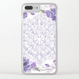 Mandala Rose Garden Lavender Purple Violet Clear iPhone Case
