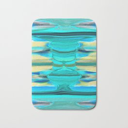 Abstract in Shades of Blue, Green and Yellow Bath Mat