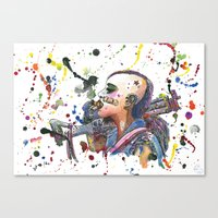 tank girl Canvas Prints featuring Tank Girl by Abominable Ink by Fazooli